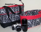 Camera Bag womens camera case Extra Large size diaper bag purse tote black red eiffel tower padded  waxed canvas ZIPPER by Snugglens Custom