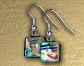 Pastel Pink Dichroic Fused Glass Earrings - ER460