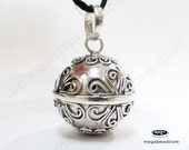 16mm Mums Flower Harmony Ball Pendant Bali 925 Sterling Silver P81