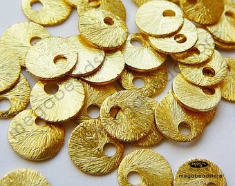 100 pcs 6mm Vermeil Gold Tag Charms with Ring Brushed Texture Top Drill Hole F163V