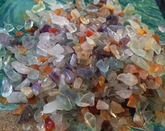 Two Ounces Mixed Gemstone Chips     Offering Stones Mixed Gems Healing Crystals, Healing Stones, Kits, Crystal Stone, Gift to Earth,