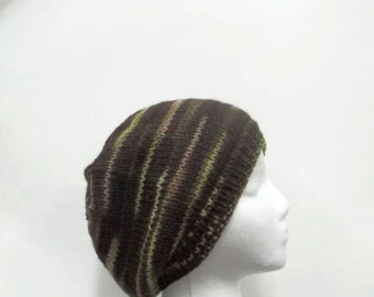 Knitted beanie hat, wool, variegated brown,green and tan     4967
