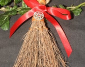 Small Cinnamon Broom or Besom with Pentagram - Pagan, Wicca, Witchcraft, Pentacle, Cleansing, Altar