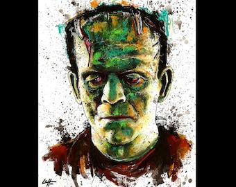 "Print 11x14"" - The Monster - Frankenstein Portrait Dracula Classic Monster Horror Halloween Pop Lowbrow Vintage Dark Art Wolfman Gothic"