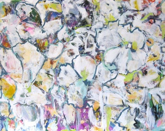 NEW BEGINNINGS original large scale contemporary white abstract painting on paper unframed