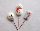 Miniature Dollhouse - Whimsical Christmas Snowman Lollipops by C. Rohal