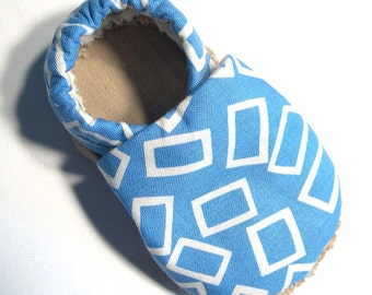 Blue Rectangles Soft Soled Baby Shoes 0-6mo