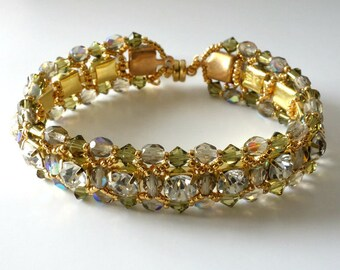 Crystal Rhinestone Bracelet, Light Khaki, Bridal, Wedding, Beaded Jewelry, Beaded Bracelet, Crystal Tennis Bracelet..Romancing the Stone