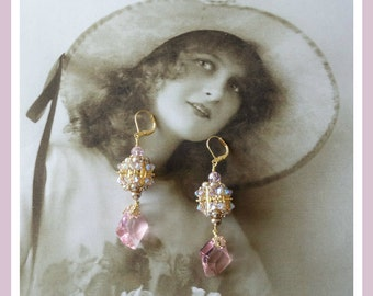 Beaded Bead Earrings, Swarovski Crystals, Swarovski Pearls, Rosaline Galactic Pendant, Gold Earrings, Long Drops, OOAK...Pink Champagne