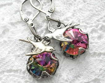 Over the Rainbow - Vitrail Glass Earrings with Antiqued Silver Sparrows