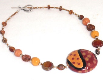 Kazuri Fair Trade Red and Gold Ceramic Beads with Gemstones and Czech Glass Necklace