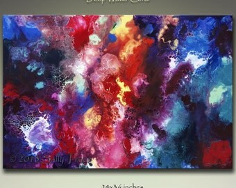 Abstract Giclee Canvas Print, from my Original Abstract Fluid Painting, Deep Water Coral  - 16x24 - 20x30 - 24x36
