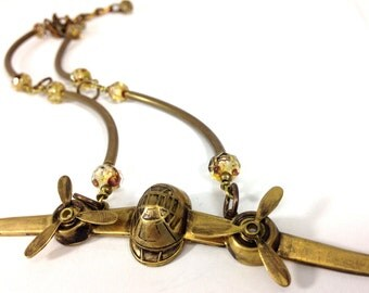 AirPlane , Steampunk Propeller Airplane Necklace, Steampunk Victorian Airplane, One of a Kind
