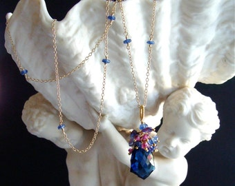 Sapphire Blue Quartz Scalloped Pendant with Kyanite, Mystic Kyanite & Rubellite Clusters - Viviane Necklace