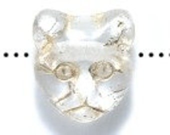 CRYSTAL CAT head Beads with gold inlay (15) 12MM  Czech Matte