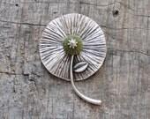 Sea Urchin Green Organic Flower Necklace Big Statement Necklace
