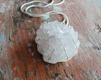 Druzy Quartz Necklace Hand formed Sterling Silver Statement jewelry