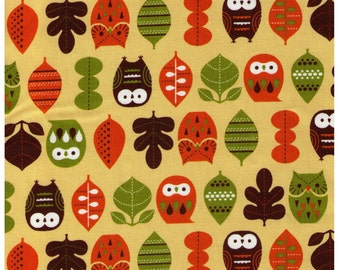 CLEARANCE 1/2 Yard - Kawaii Owls and Leaves on CREAM Yellow - Oxford - Cosmo Textiles, Leaves, Orange, Green Brown - Japanese Import