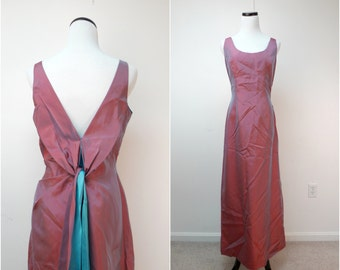 UPTOWN GIRL . vintage iridescent red . empire . long dress . fits a medium to large