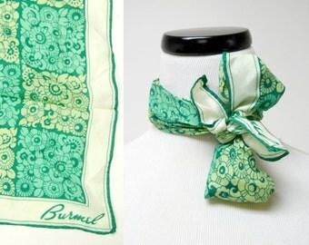 GREEN FLORA . vintage Burmel Silk Scarf