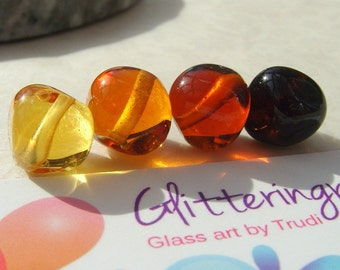 Lampwork Beads Glass  Graduating Topaz Nugget Quartet