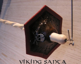 Viking Santa Drop Spindle ( EDS 0714) Leather whorle