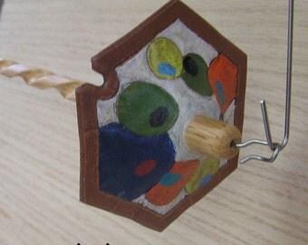 Viking Santa Drop Spindle ( EDS 0727) Leather whorle