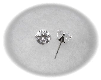 6mm White Cubic Zirconias in 925 Sterling Silver Stud Earrings SnapsByAnthony