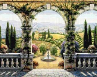 Tuscan villa - Italian landscape counted cross stitch kit