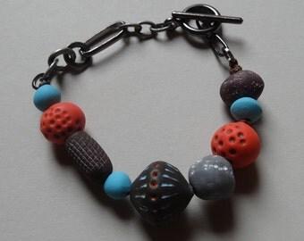 Bracelet, Handmade Beads, Hand Painted, Original, Clay Beads, Tribal, Bohemian
