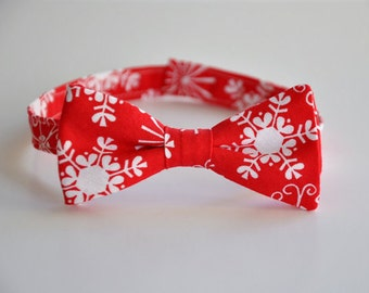 Boy's Bow Tie, Red Bowtie, Snowflake Tie, Christmas Outfit, Toddler Bow Tie, Baby Bowtie