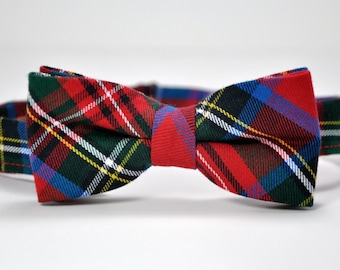 Bow Tie - Stewart Plaid Bowtie - Christmas Bow Tie - Red and Royal Blue Plaid Tie - Boy  - Baby - Toddler - Teen - Boy