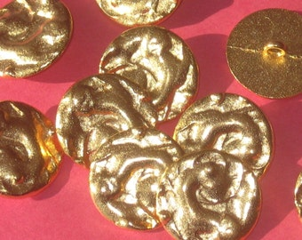 "FANCY Set 10 Vintage New Gold tone METAL buttons RELIEF Embellished 15/16"""