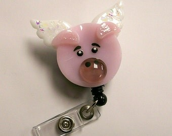 Retractable badge holder Fused Glass Flying Pig (Pink)