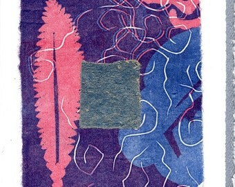 Original Linocut on Blank Strathmore card