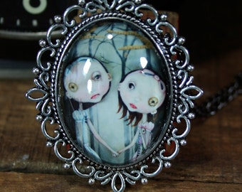 Steampunk Pop Surrealism Lowbrow Sisters Necklace