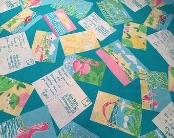 "Lilly Pulitzer Boca Blue Postcards Fabric ~ 18""x14"""
