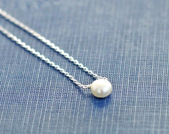 Single Pearl Necklace, Sterling Silver Dainty Chain, Layering Necklace, Minimalist Necklace