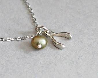 Sterling Silver Tiny Wishbone Necklace, Moss Green Pearl, Dainty Modern Jewelry