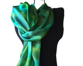 Green Silk Scarf Hand Painted Emerald Green Scarf Free Shipping