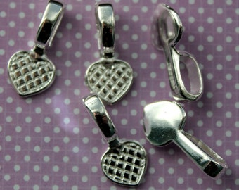 5 Silver Plated Glue-On Heart Bails