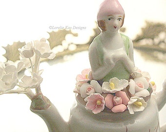 Cherry Blossom Teapot Assemblage Art Doll Pink & White One-of-a-kind Mixed Media Small Sculpture