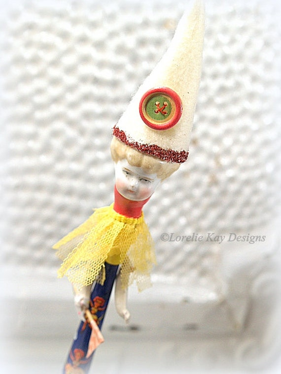 Party girl found object art doll small tin litho vintage horn - Small tin girl ...