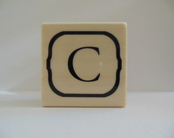 Letter C Rubber Stamp - Blooming Petals Collection - Wood Mounted Rubber Stamp - Letter Stamp - Alphabet Stamp