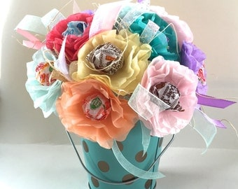 First Birthday Wedding Baby Shower or Bridal Shower Tissue Paper Flowers with Lollipops Suckers Candy Bouquet Robin's Egg Blue base