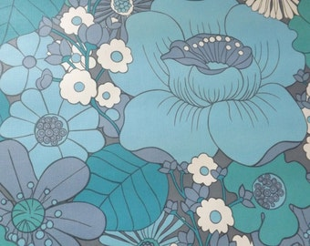 Vintage blue wallpaper very large flowers vinyl turquoise sky retro 1 meter