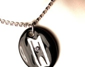 Humanist Sparkle Surly Necklace with Swarovski Crystals in Black