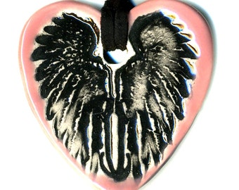 Heart with Cloaked Wings Ceramic Necklace in Pink