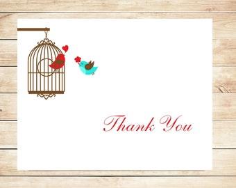 Love Bird Thank You Cards - Cute, Sweet Stationary