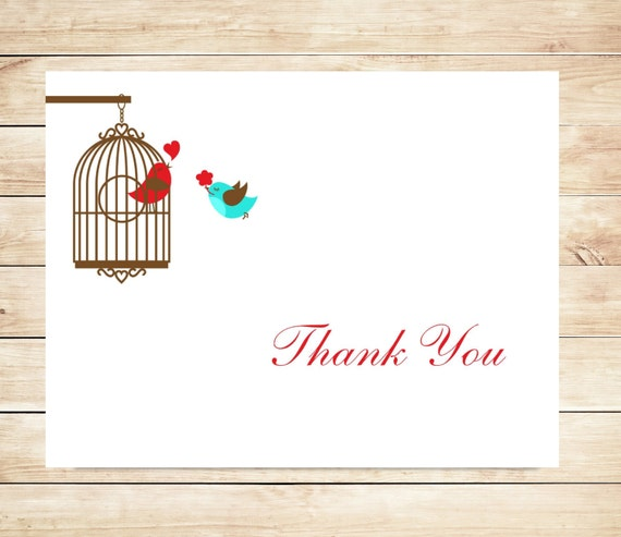 Love Bird Thank You Cards - Cute, Sweet Stationary